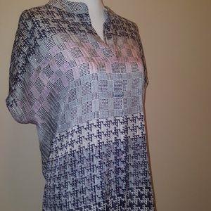 CAbi geometric tunic button top.  Size Large